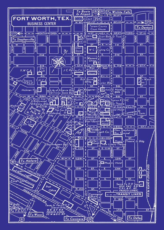 Vintage map of fort worth texas blueprint map print poster malvernweather Choice Image