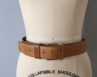 ALMOND BUTTER saddle belt | 1970s harness leather belt | distressed leather belt