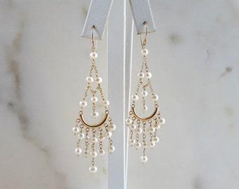 Gemstone Chandelier Earrings 14K Solid Yellow Gold and Pearl Dangle Chain Earrings High End Wedding Handmade Fine Jewelry Life Bijou