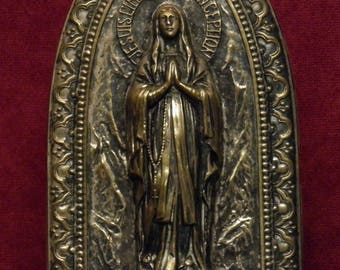 Antique French religious prayer ornate plaque I am the immaculate conception