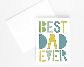 BEST DAD EVER Card, Illustrated Greeting Card, Illustration, Father's Day Card, Illustrated Text, Card for Dad, Gift for Dad