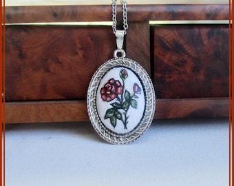 Art nouveau rose pendant, small paint rose necklace, bridesmaid gift, romantic necklace, red rose necklace, silver chain necklace, gift her.