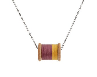 SALE: Mustard and Eggplant Thread Spool Necklace