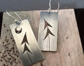 Sterling Silver Two Pines & Crescent Moon Tree Art earrings