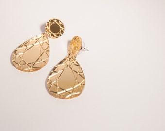 diamond design earrings, acrylic earrings, studs, lasercut acrylic, gold earrings, geometric earrings