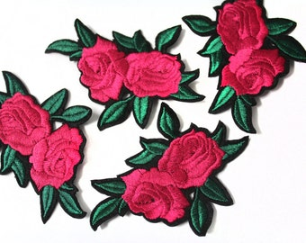 Hot Fix Iron On Embroidered Roses Patches, Flower Appliques, Glue on Flowers, Garment Embellishment