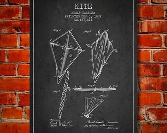 1892 Kite Patent, Canvas Print, Wall Art, Home Decor, Gift Idea