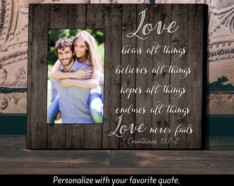 Personalized Picture Frame, Wedding Gift, Anniversary Gift, Love Never Fails, Personalized Frame, Gift for Bride