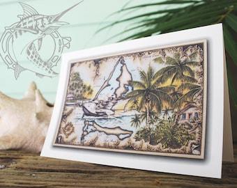 Island Hopping Note Card, Bimini lifestyle art