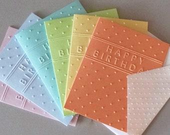Happy Birthday Card Set, Embossed Birthday Note Card Set, Birthday Stationary Card Set of 6, Embossed Birthday Cards, Handmade Blank Cards