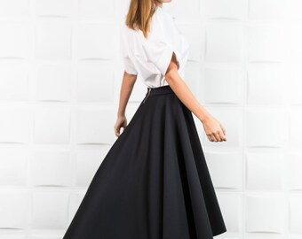 Neoprene skirt, Maxi skirt, Black skirt, Layered skirt, Long skirt, Extravagant skirt, Circle skirt/ S0010