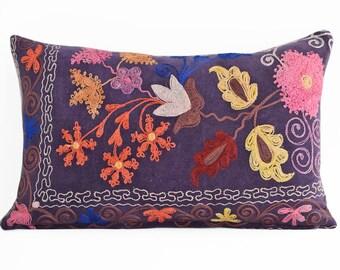 Suzani Embroidered Pillow Cover 12x16, Suzani throw pillow covers,Uzbek suzani pillows, Pillow Cover Silk Suzani, Suzani Throw Pillows