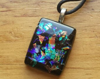 Dichroic Glass Necklace, Dichroic Glass Pendant,  Dichroic Glass, Art Glass Jewelry, Dichroic Glass Jewelry, Fused Glass Jewelry,  D113