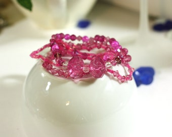 Pretty in Pink Bracelets - Mix and Match Beaded Bracelets - Set of 5 unique Handmade Bracelets - Mixed Media Jewelry - Accent Accessories