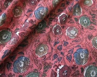 Pink Multicolor Floral Cotton Block Print Fabric