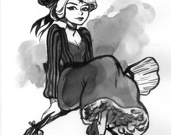 A Witch in Ink Wash