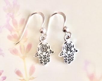 Small Silver Hamsa Earings
