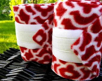 Set of 2 Red Patterned Horse Polo Wraps