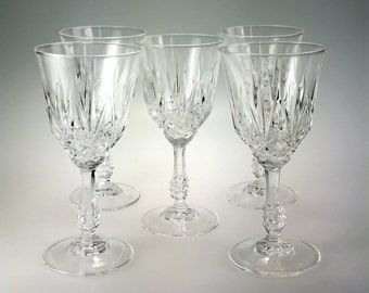 Set of 5 Pineapple Cut Ball Stem Crystal Wine Glass 6 oz Unknown
