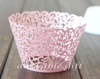 Cupcake Wrapper | PINK Pearl Lace Cupcake Liners | Filigree Wedding Cake Wraps | Party Decorations Baby Shower Birthday (12pcs)