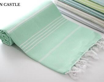 Classic | Aqua Green Bath Towel | Peshtemal Towel | Turkish Bath Towel | Turkish Towel | Beach Blanket | Spa | Beach Towel | Yoga Towel