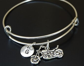 Motorcycle Bangle Bracelet, Adjustable Expandable Bangle Bracelet, Motorcycle Charm, Motorcycle Pendant, Motorcycle Jewelry, Biker Chick