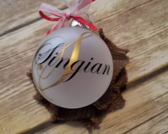 Frosted personalized last name ornaments