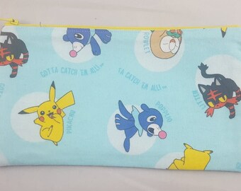 Alola Pokemon Zipper Pouch | Pencil Case | Makeup Bag | Travel Bag