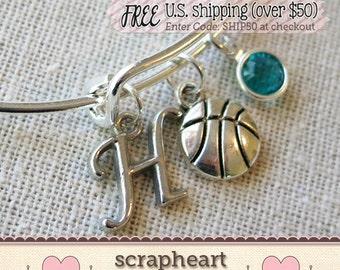 Basketball Charm Bracelet, BASKETBALL COACH MOM Bangle Bracelet, Personalized Initial Birthstone Charm Bangle, Cute Varsity Basketball Gifts