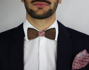 Wooden bow tie and pocket bag-Autumn leaves