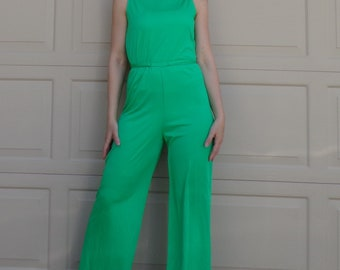 GREEN POLYESTER 1970's JUMPSUIT 70s groovy S