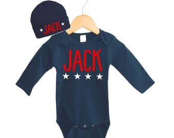 American Pride baby Outfit, Personalized Baby Boy Gifts, 4th of July Baby outfit, Fourth of July Baby Set, Navy Hat and Gown , Navy Bodysuit