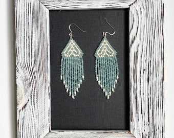Pistachio & Cream , Handmade Earrings, Seed Beads , Unique Jewelry, Artisan Earrings,