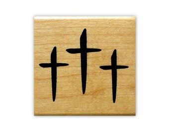 THREE CROSSES Christian mounted rubber stamp, religious Easter, Jesus Christ, Sweet Grass Stamp No.11