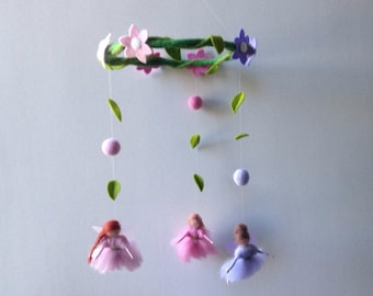 needle felted waldorf mobile small fairies