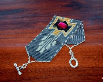 Bracelet de perles Peyote, déclaration Perle Bracelet tissé, OOAK manchette perles, perles Delica gris et argent