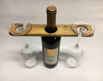 Mahogany wine, holder for wine bottle and 2 glasses