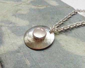 Delicate Round Sterling Silver Pendant with 5mm Rose Quartz