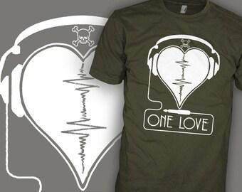 NAS Shirt - One Love - Headphone Heart Skull - Music Lovers T-Shirt