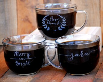Personalized Coffee Mug, Holiday Gift, Christmas Gift, Custom Coffee Mugs, Wedding Favor, Anniversary Gift, Valentines Day, Wedding Present