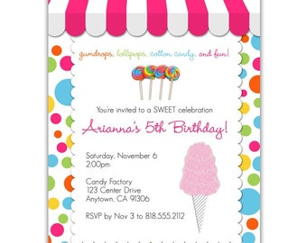 Candy store invite Etsy