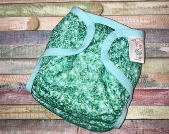 Mint Glitter Polyester PUL Cloth Diaper Cover With Aplix Hook & Loop Or Snaps You Pick Size XS/Newborn, Small, Medium, Large, or OS
