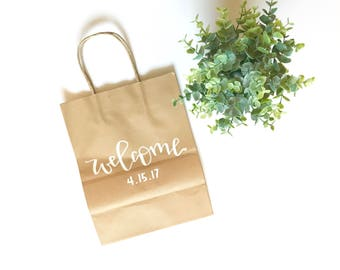 Welcome- hand lettered gift bag, wedding welcome, guest welcome, welcome bags, wedding weekend welcome, wedding weekend, guest gift bags