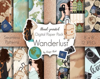 Summer Papers, Travel Digital paper, wanderlust patterns, Vacation papers, Travelling, Scrapbook paper, Desiner papers, Journey papers