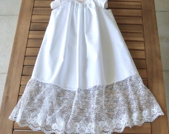 Baptism Christening gown dress with lace and flutter sleeves white special occasion infant dress.