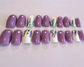 Lavender flowers Full cover artificial nail set-Long length, square tips