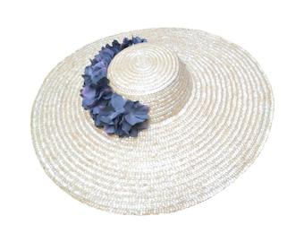 Women's wide brim hat with green flowers. Straw hat. Flower fascinator. Flower kentucky derby hat. Sun hat. Summer hat. Wedding hat. Bridal