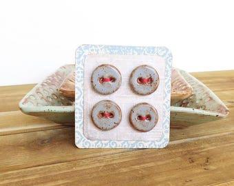 Blue Shino Round Handmade Stoneware Buttons - Set of 4