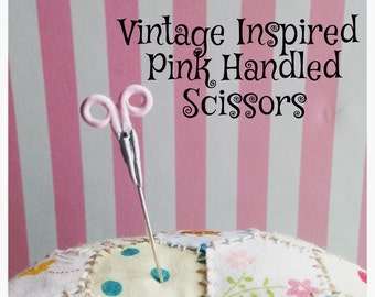 Pink Handled Scissors Pin Topper - Vintage Inspired