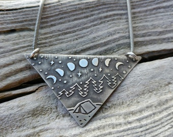 Handmade Sterling Silver Camping Necklace